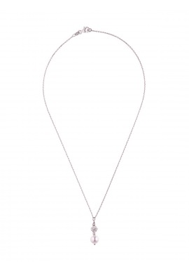 Collier Argent & Véritable Crystal Blanc - Véritable Perle