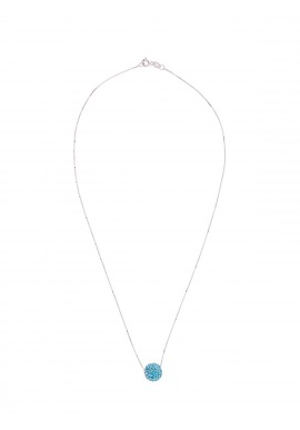 Collier Argent & Véritable Crystal Bleu