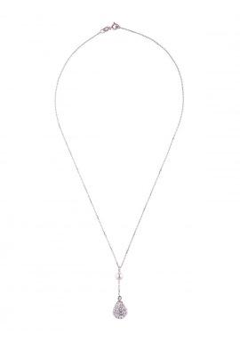 Collier Argent Véritable Crystal Blanc & Véritable Perle