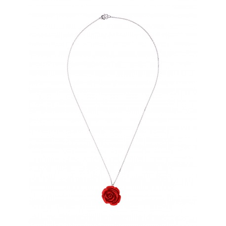 Collier Argent Red Rose