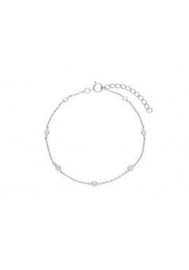 Bracelet Argent Chainage avec Solitaires Alternés