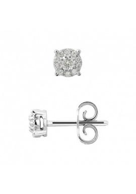 Boucles d'Oreilles Solitaire Diamants 0,20 Cts (2 x 0,10 Cts) - Or Blanc 375 Millièmes