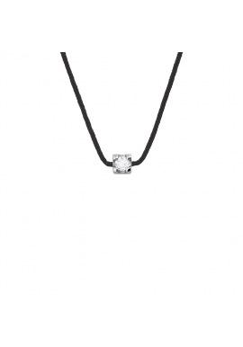 Collier Véritable Diamant 0,03 Carats Serti 4 Griffe