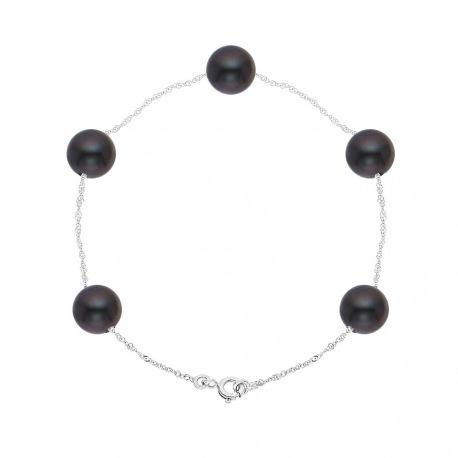 Bracelet Chaine Singapour en Or Blanc & Perle