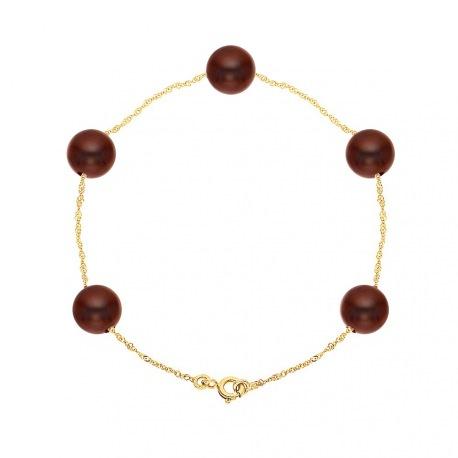 Bracelet Chaine Singapour en Or Jaune & Perle